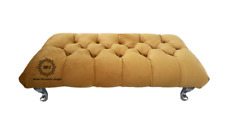 Chesterfield Footstool Mustard Plush Velvet Diamond Tufted Bench Free Delivery