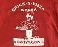 Vintage 1980s Chick N Pizza Works Red 80s tee tshirt Size Small