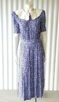 Vintage Karin Stevins 6 Bib Collar Floral Dress Purple Short Sleeve Modest 80's