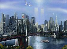 NEW YORK Skyline Brooklyn Bridge Twin Towers Painting Giclee Canvas 16x20