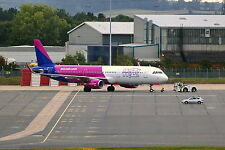 Wizz Air Airbus A321-231 HA-LXE Pushback at Birmingham Airport 24-09-16 Postcard