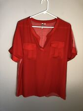 KUT from the Kloth Women's Red V Neck Two Pocket Short Sleeve Blouse - M