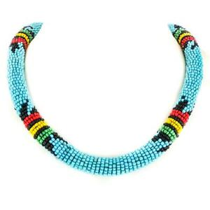 ETHNIC STYLE TURQUOISE BLACK YELLOW HANDMADE GLASS SEED BEADS COLLAR necklace