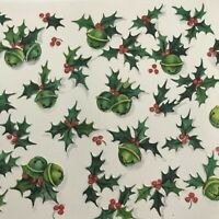 Vintage Mid Century Christmas Greeting Card Jingle Bells Holly Design Hallmark