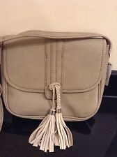 MANGO PEBBLED BEIGE TASSELS CROSS BODY BAG. NEW WITH TAG.