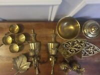 Brass Lot, 13 pieces, sconces, pineapple bells, bowl, sm cups, bookends, etc