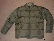 Mens Large LL Bean Goose Down Fill Puffer Jacket Coat Parka Winter Fatigue Green