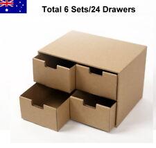 25x18x17cm Total 6 Sets (24 Storage Drawers) DIY Cardboard Organiser Paper Boxes