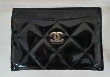 CHANEL Auth Black Quilted Patent Leather credit card Coin Purse wallet