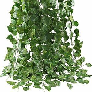 Hecaty 87 Feet-12 Pack Artificial Ivy Large Leaf Garland Plants Vine For Hanging