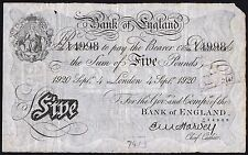 B209a HARVEY 1920 WHITE £5 NOTE * A/58 14998 * gF *