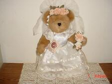 "BOYDS BEARS ""WEDDING BEAR"" 12"" BROWN BEAR-CREAM WEDDING DRESS/BLUE TAG/CLEARANCE"