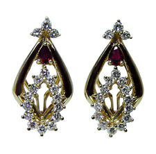 Vintage 18K Gold Diamond Ruby Earrings High Quality Estate Jewelry