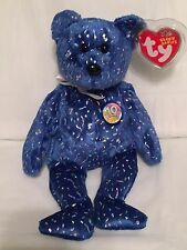 TY Beanie Baby - DECADE the Royal Blue Teddy Bear-Pristine w/  Mint Tags-RETIRED