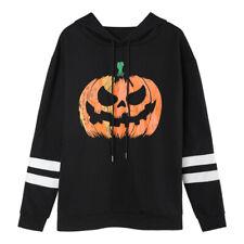 Women Halloween Hoodies Long Sleeve Funny Pumpkin Loose Sweatshirts Pullover Top