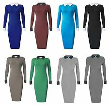 Ladies Long Sleeve Office Contrast Collar Peter Pan Pencil Midi Bodycon Dress