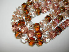 25 Pink Topaz and Copper Lined Mix Firepolished Cathedral Czech Glass 8mm beads