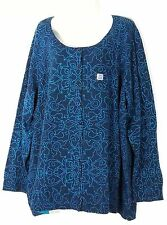 Catherines Button Down Sweater 3X 26 28 Blue & Teal Plus Size Top