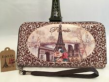 Fashion French Wallet Paris France Theme Wristlet 2 Zip Areas LG IPHONE Fits