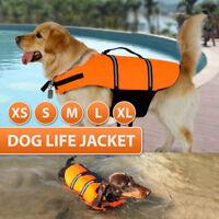 Pet Safety Vest Dog Life Jacket Reflective Stripe Preserver Puppy Swimming