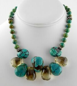 Andre Artisan Sterling Silver Turquoise Smoky Quartz Necklace Hand Knotted 925