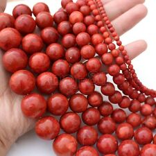 """6MM-24MM Genuine Natural Red Grass Coral Round Gemstone Loose Beads 15""""AAA"""