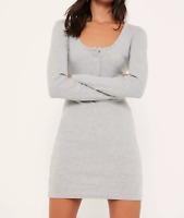 Missguided grey long sleeve half placket popper dress (M60/1)
