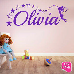 FAIRY Wall Sticker Personalised Name Girls Bedroom Vinyl Wall Art Decal F5 R