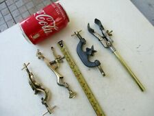 Vintage Lot 4 Adjustable Brass Amp Metal Clamps Laboratory Pasteur Depose Fisher