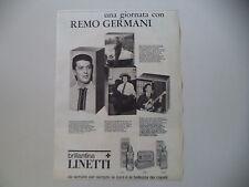 advertising Pubblicità 1966 BRILLANTINA LINETTI e REMO GERMANI