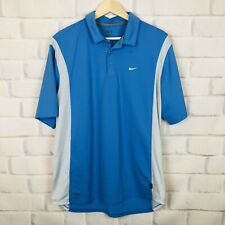 Nike Fit Dry Mens Size Xl Blue Polo Collar Button Shirt Golf