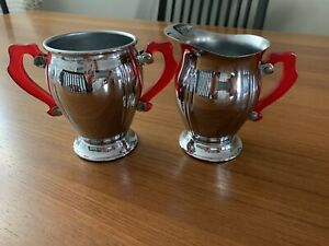 Vintage Art Deco CHROME And Red LUCITE Handles CREAM And SUGAR Set VERY NICE!