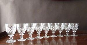 9 Tudor Crystal Burleigh Cut  Wine Glasses, Signed 1930's h11cm