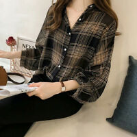 Women Plaid Shirts Batwing Sleeve Chiffon Blouses Tops Plus Size Tartan BlusasFS