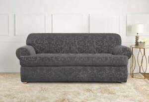 Sure Fit Stretch Jacquard Damask 2-Piece - T-Sofa  Slipcover - gray