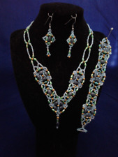 OOAK Handmade Beadwoven Blue, Green and Gold Necklace Bracelet & Earrings Set