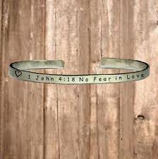 "1 John 4:18 No Fear In Love - Cuff Bracelet Jewelry Hand Stamped 1/4"" Organic"