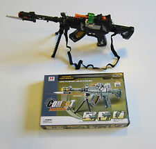 1 TOY MACHINE GUN WITH LIGHTS SOUND MOVING KNIFE & STAND MILTARY ASSAULT RIFLE