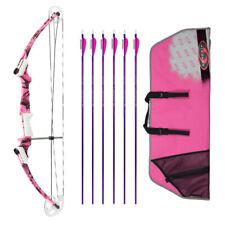 Genesis Archery Original Bow (Right, Pink Camo) with Nasp Arrows and Case Bundle