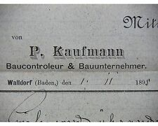 WALLDORF/Baden 1898, KAUFMANN - Bauunternehmer-Baukontrolleur, Litho, Mitteilung