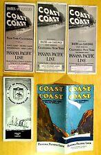 Lot of 5 PANAMA PACIFIC LINE 1920's Brochures & Passenger List ss MONGOLIA