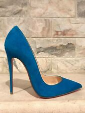 NIB Christian Louboutin So Kate 120 Blue Egyptian Suede Heel Pump Shoe 35.5