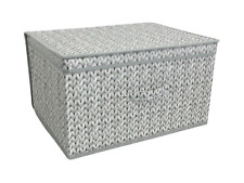 NEW GREY KNITTED DESIGN JUMBO MULTI USE STORAGE CHEST BOX, FOLDABLE