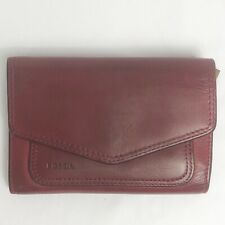 Fossil Wallet Red Leather Envelope Style Trifold Snap Closure