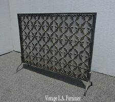 Vintage French Country Black Ornate Fireplace Screen Spanish Style