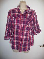 St Johns Bay multi color plaid gauze button down shirt top pockets 3/4 sleeve L