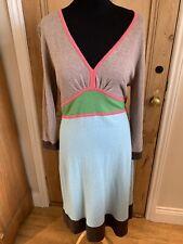 BODEN Knitted Jumper Dress Cashmere Angora Wool Blend Colour Block Size 12-14