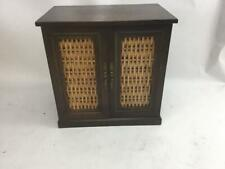 Vintage Wooden Jewelry Box 8 Drawers Cane Wicker Doors