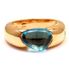New! Authentic Pomellato Sassi 18k Rose Gold Blue Topaz Band Ring Size 6