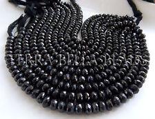 "Full 8"" strand black SPINEL large faceted gem stone rondelle beads 6.5mm - 7mm"